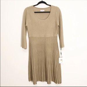 NWT Calvin Klein Gold Sweater Dress M